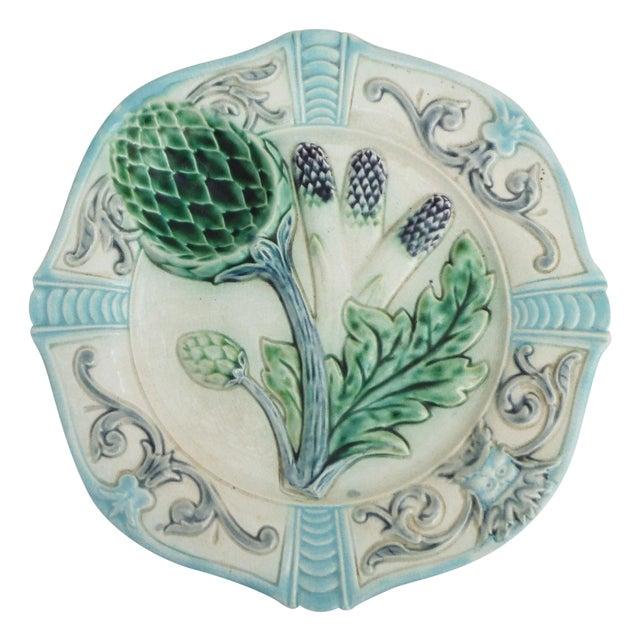 Majolica Artichoke Plate For Sale