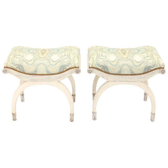 Pair of Painted and Parcel Silver Gilt Curule Stools For Sale In West Palm - Image 6 of 6