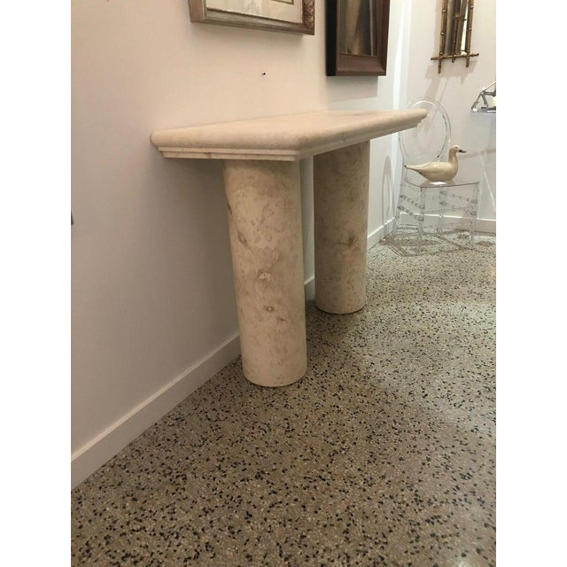 Italian Sandstone Double Pedestal Console Tables - a Pair For Sale - Image 12 of 13