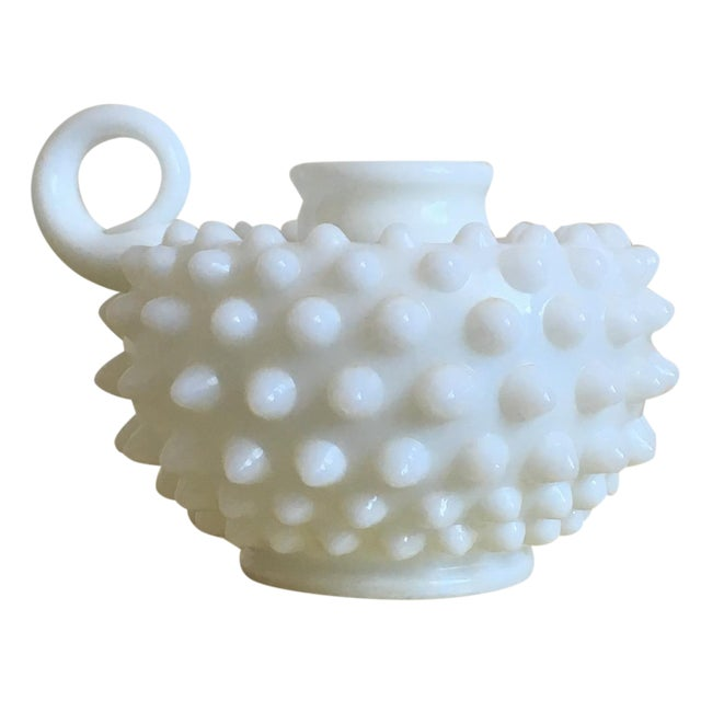 Vintage Hobnail Art Deco Milk Glass Candle Holder - Image 1 of 5