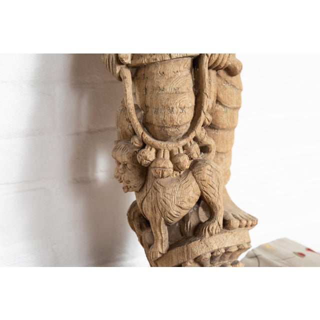 Indian Gujarat Hand Carved Temple Carving Statue Depicting A Woman And A Feline Chairish