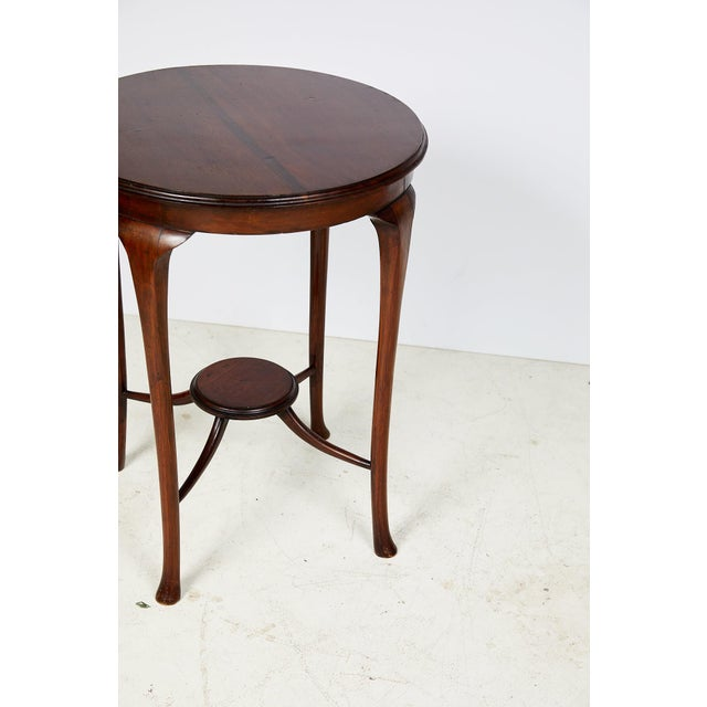 English Art Nouveau Round Tea Table of Mahogany For Sale - Image 11 of 13