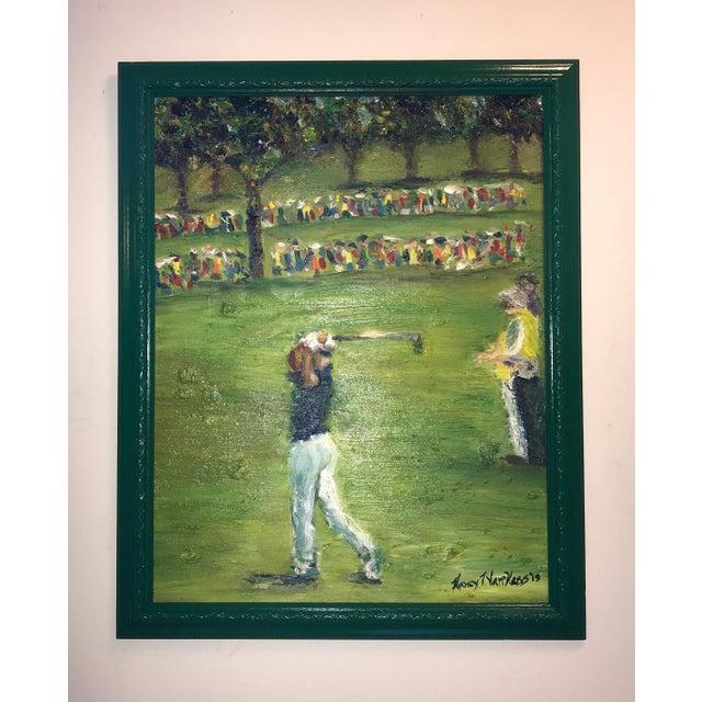 Tiger Woods Pga Golf Original Framed Oil Painting Signed Art For Sale - Image 10 of 10
