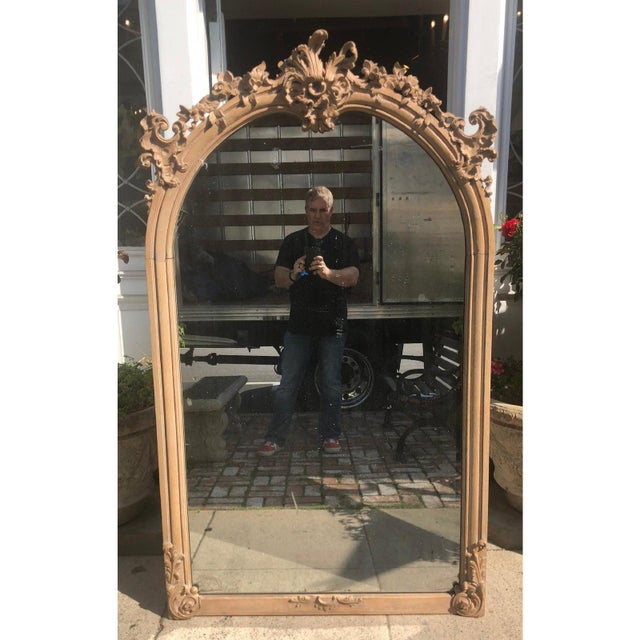 Huge Antique 19th C Gustavian Swedish Empire Beechwood Mirror