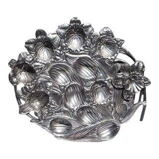 Arthur Court Silver Aluminum Deviled Egg Platter With Orchid Flowers For Sale