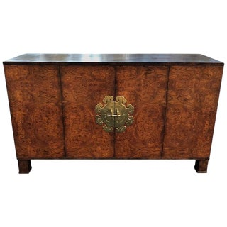 Burl Wood Credenza With Brass Hardware For Sale
