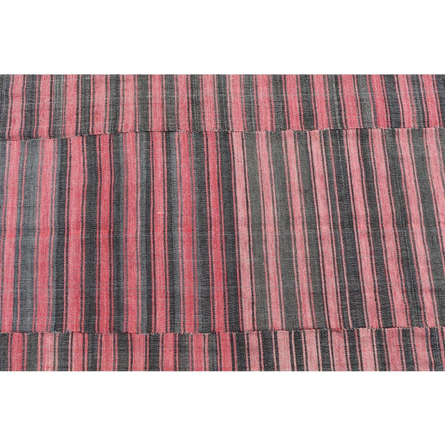 Islamic Late 20th Century Turkish Modern Handmade Striped Flatweave Textile Rug - 5′11″ × 9′10″ For Sale - Image 3 of 4