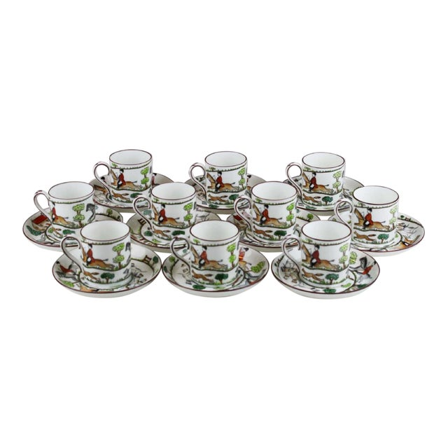 English Staffordshire Bone China Demitasse & Saucers - Set of 10 For Sale