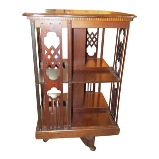 Antique Marquetry Topped Revolving Book Table For Sale