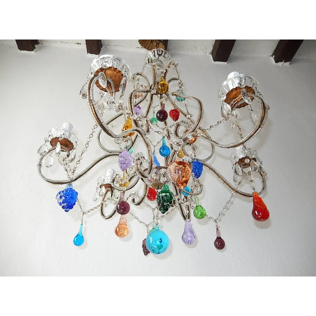1920s Italian Beaded Murano Colorful Fruit Chandelier, 1920 For Sale - Image 5 of 12