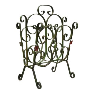 Antique Art Nouveau French Style Wrought Iron Floral Green Magazine Rack For Sale