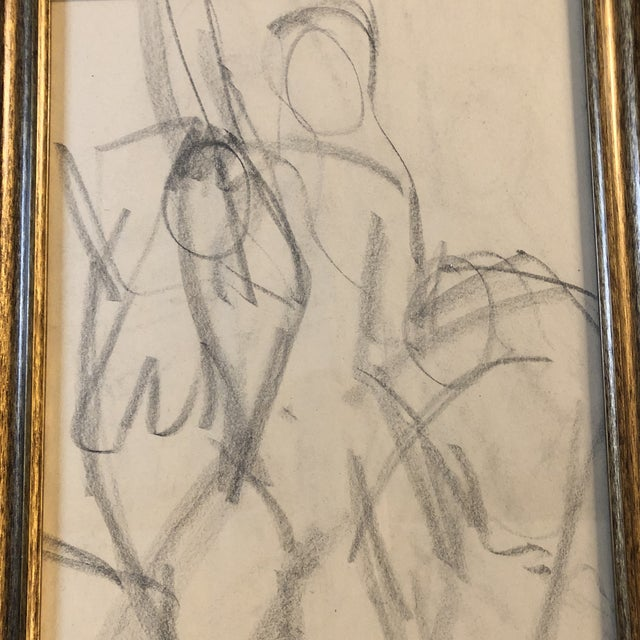 Original charcoal drawing on paper Unsigned 11 x 14 Overall size with vintage frame is 17 x 20