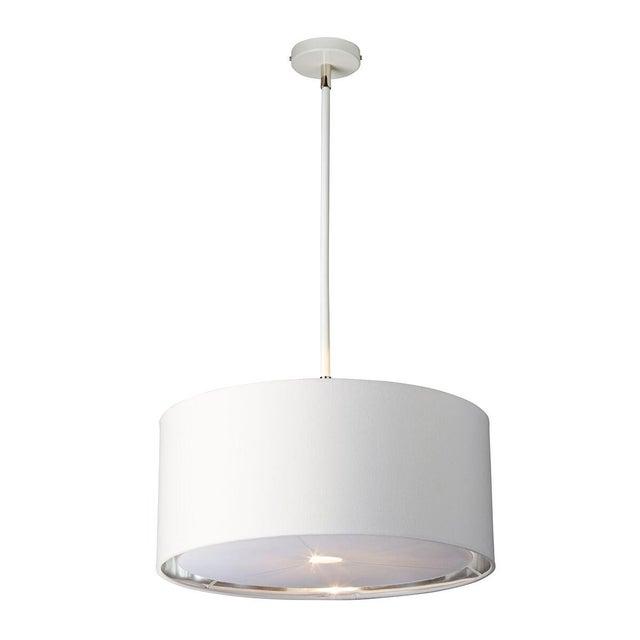Modern Balance White/Polished Nickel Pendant or Semi Flush For Sale - Image 3 of 3