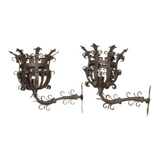 Large Iron Fleur De Lys Chateau Sconces From France, 1950s - a Pair For Sale
