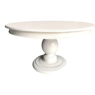 Vintage Round Ball Pedestal Dining or Entry Table by Quatrine Furniture For Sale