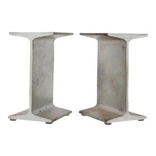 Mid-Century I-Beam Metal Bookends - A Pair