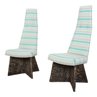 Adrian Pearsall Mid-Century Brutalist High Back Side Chairs - a Pair For Sale