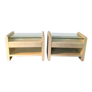 Karl Springer Mosiac Bone Inlay Side Tables - a Pair For Sale