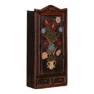 19th Century Folk Art Painted Hanging Wall Cabinet For Sale