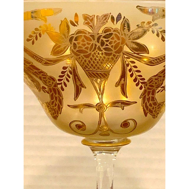 Gold Set of Six Gilt Enameled Frosted Grand Coupes/ Dessert or Seafood For Sale - Image 8 of 11