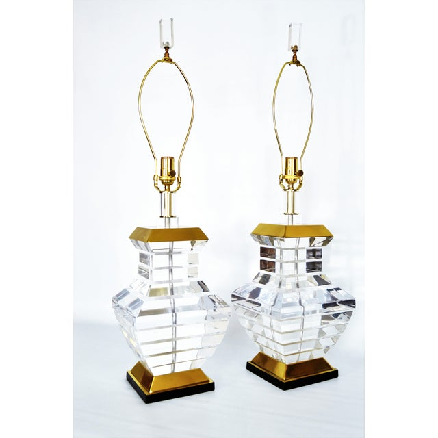 Karl Springer Charles Hollis Jones Style Mid-Century Modern Chunky Lucite & Brass Lamps MCM - a Pair - Image 5 of 11