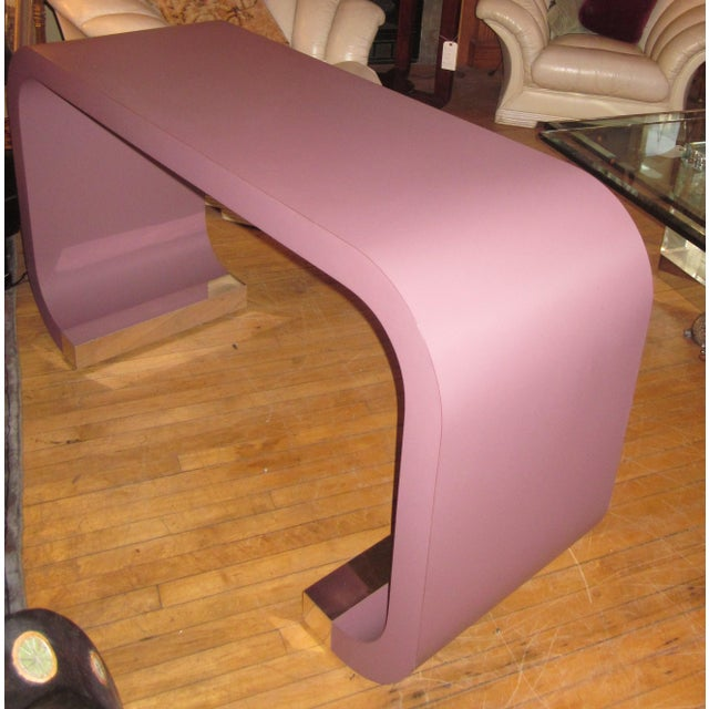 Metal Vintage Postmodern Lavender Mauve Pink-Purple Waterfall Console Table For Sale - Image 7 of 11