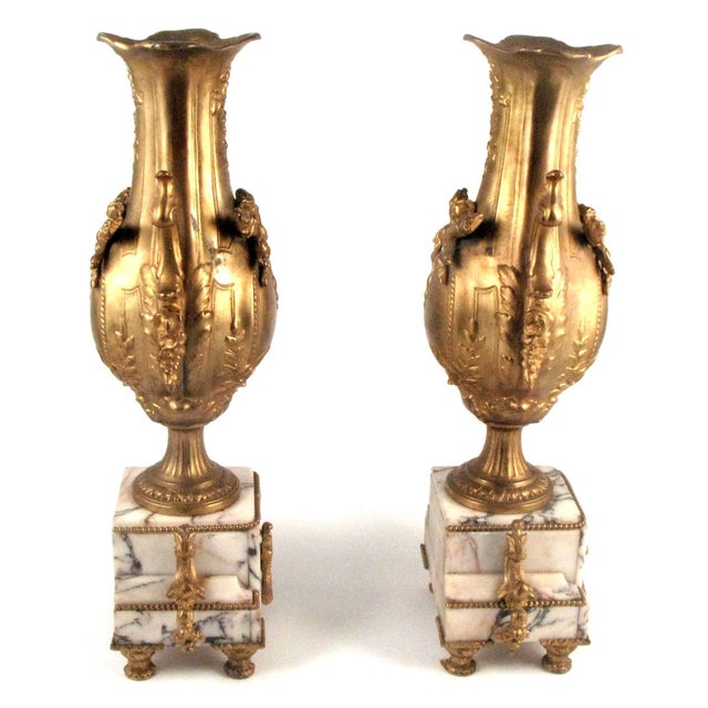 French Gold Gilt Urn Garniture Vases - A Pair - Image 3 of 9