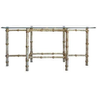 Faux Distress Finish Painted Metal McGuire Style Console For Sale