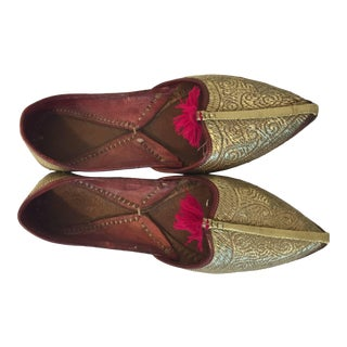 Turkish Handcrafted Leather Gold Embroidered Shoes For Sale