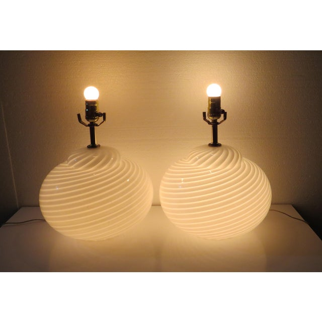 Mid-Century Modern Murano Glass Swirl Lamps - a Pair For Sale - Image 9 of 13