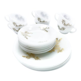Vintage Mid-Century Fire King White Milk Glass With Metallic Gold Floral Design Dinnerware - 16 Piece Set For Sale
