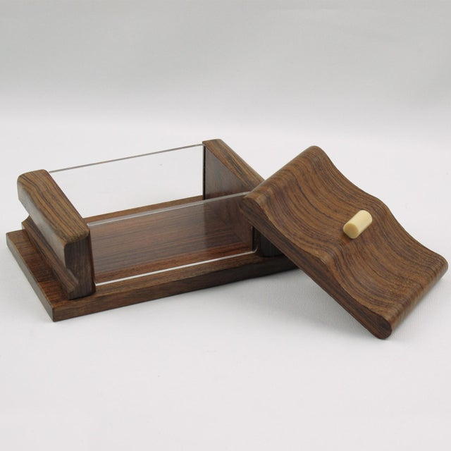 Art Deco French 1950s Rosewood and Lucite Box For Sale - Image 3 of 7