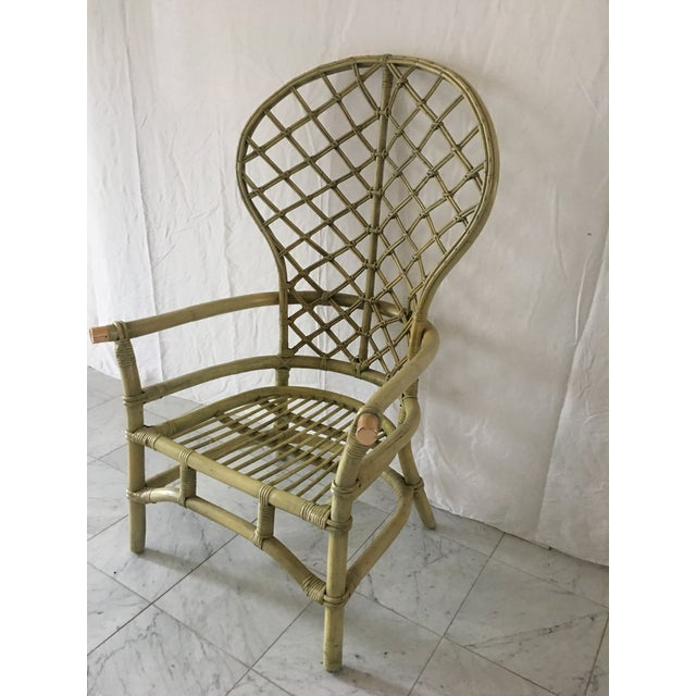 Vintage Green Rattan Fan Back Chair - Image 4 of 11