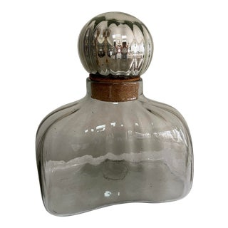 Mexican Modern Blown Glass Bottle Jar With Mercury Glass Stopper For Sale