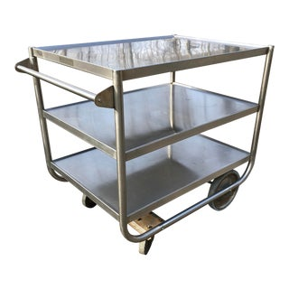 Vintage Industrial Bar Serving Cart Stainless Steel For Sale