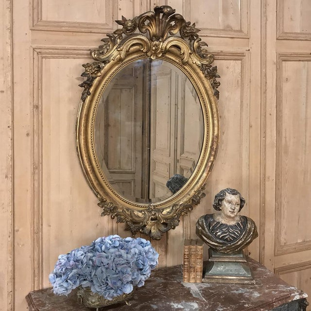Gilded Mirror, 19th Century French Louis XVI Oval For Sale - Image 10 of 12