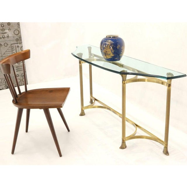 1970s Bent Brass Base Curved Glass Top Figural Console Sofa Table For Sale - Image 5 of 13