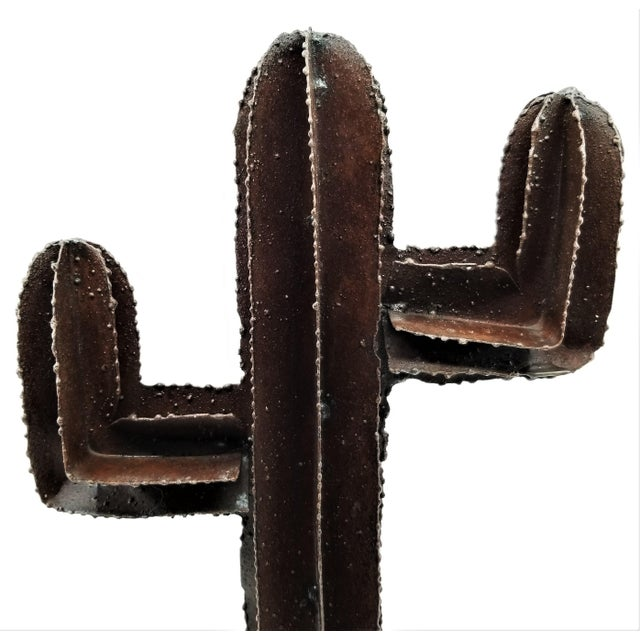 Vintage Brutalist Welded Metal Cactus Table Sculpture For Sale - Image 11 of 13