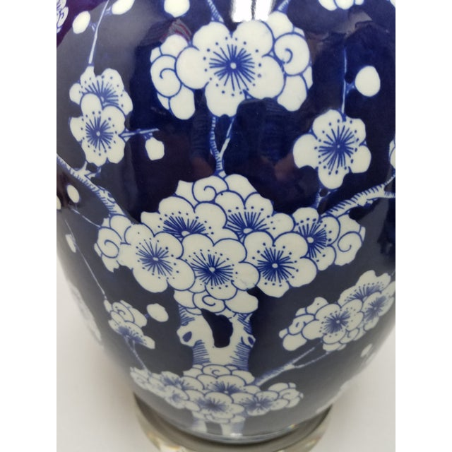 2010s Chinese Blue & White Hawthorne Blue Porcelain Table Lamps - a Pair For Sale - Image 5 of 8