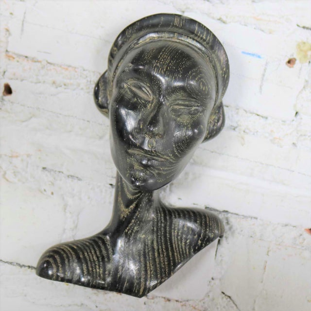 Art Deco Style Ebonized Oak Carved Female Bust Vintage Wall Sculptures, a Pair For Sale - Image 9 of 13