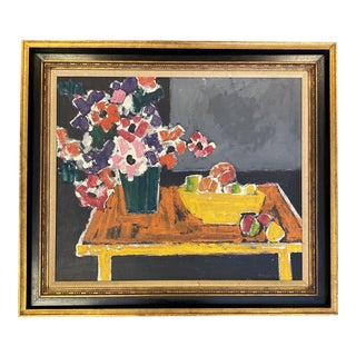 Mid 20th Century Abstract Floral Still Life Oil Painting by Felice Neuwirth, Framed For Sale