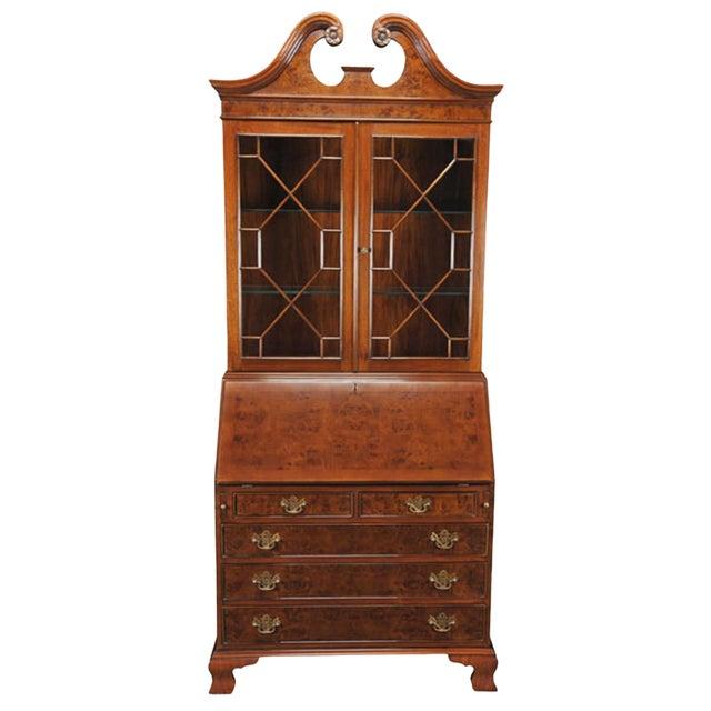 Traditional Burled Secretary Desk For Sale