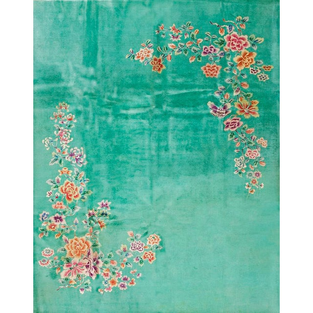 1930s Antique Chinese Art Deco Rug-9′ × 11′6″ For Sale