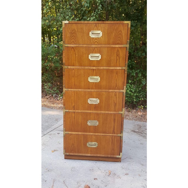Campaign Vintage Dixie Campaign Style Lingerie Chest of Drawers For Sale - Image 3 of 10