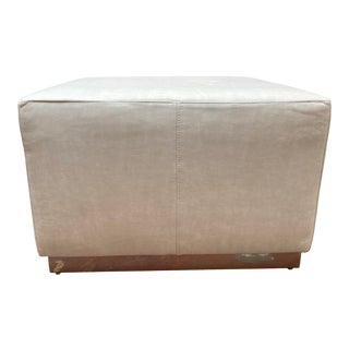 """Contemporary Bernhardt Furniture Distressed Cream Leather With Polished Stainless Steel Base """"Neal"""" Square Ottoman For Sale"""