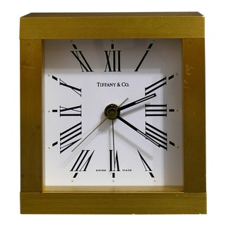 Tiffany & Co Swiss Made Solid Brass Alarm Clock For Sale