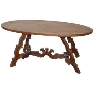 20th Century Italian Fratino Walnut Wood Oval Table With Lyre-Shaped Legs For Sale