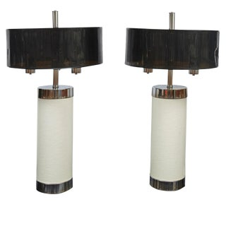 Pair of Tall Chrome and Off-White Faux Leather Mid-Century Modern Table Lamps For Sale