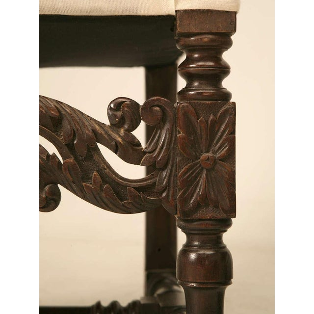 Hand-Carved French White Oak Throne Chairs - A Pair - Image 9 of 11