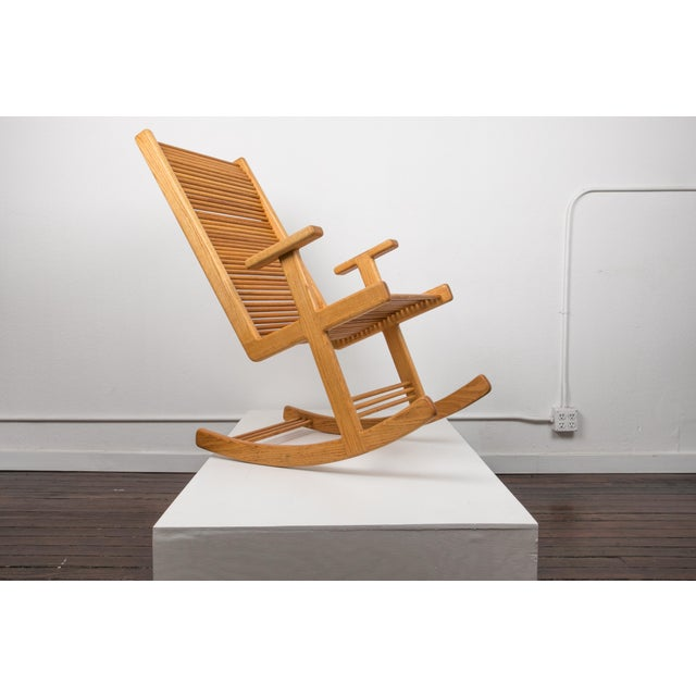 1980s 1980s Stephen Hynson Oak Dowel Rocking Chair and Ottoman For Sale - Image 5 of 9
